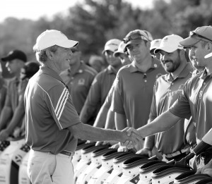 IRVING, TX - SEPTEMBER 26: President George W. Bush participates with Warriors during the Bush Center Warrior Open on September 26, 2013 at the Las Colinas Country Club in Irving, Texas. Mandatory Copyright Notice: Copyright 2013 Layne Murdoch